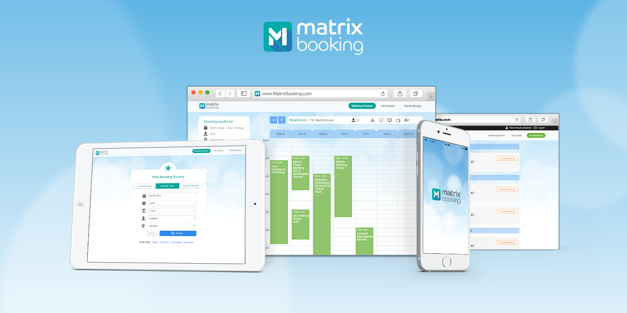 The Matrix Booking app across various devices