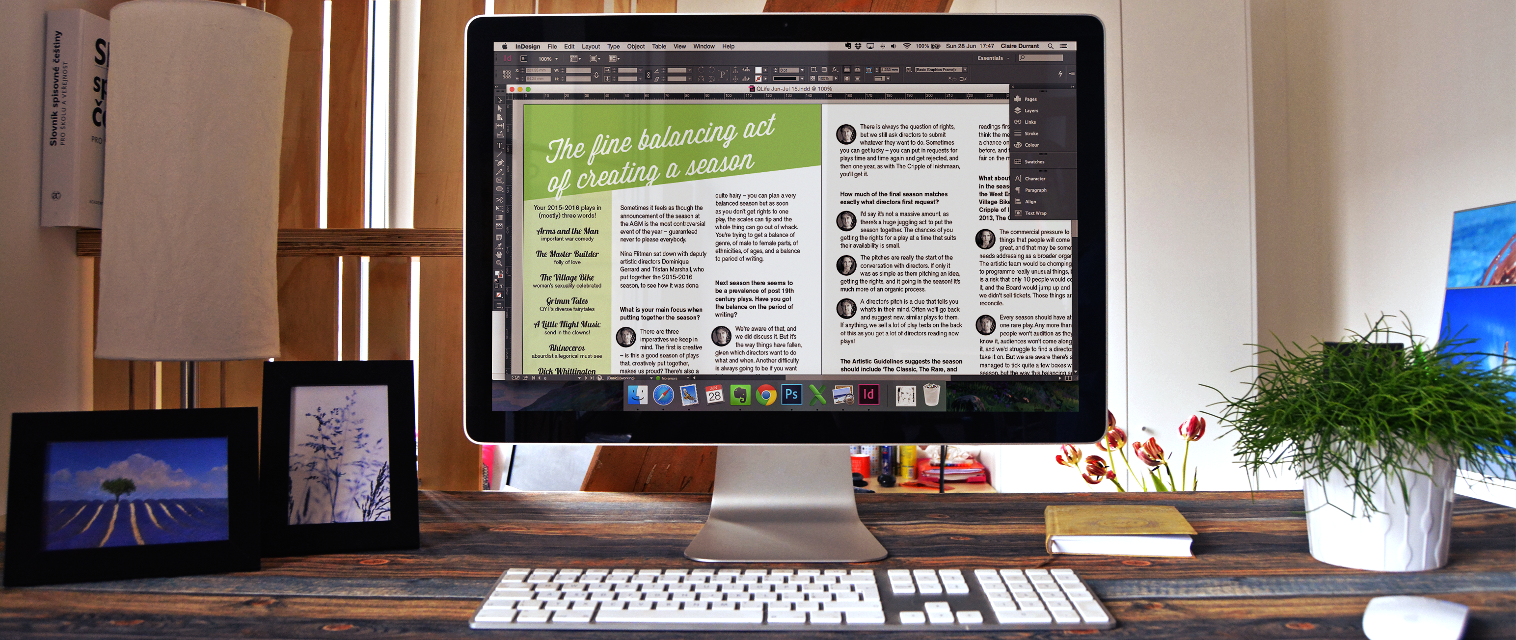 An issue of the members' magazine, QLife, being designed